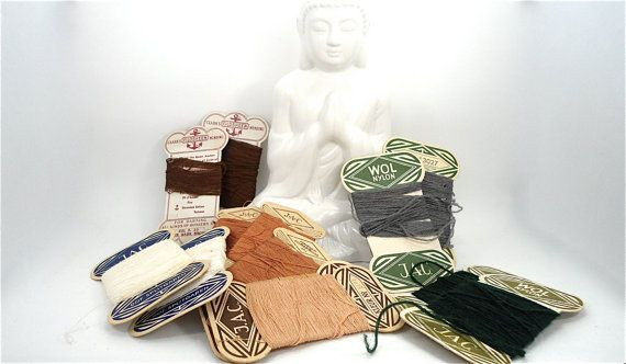 12 cards with vintage wool in several colors by Sweetlakevintage, $6.00