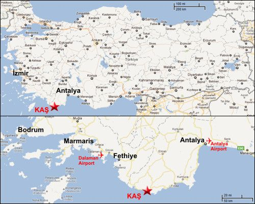 Map of the Turkish Riviera aka Turquoise Coast Somewheres