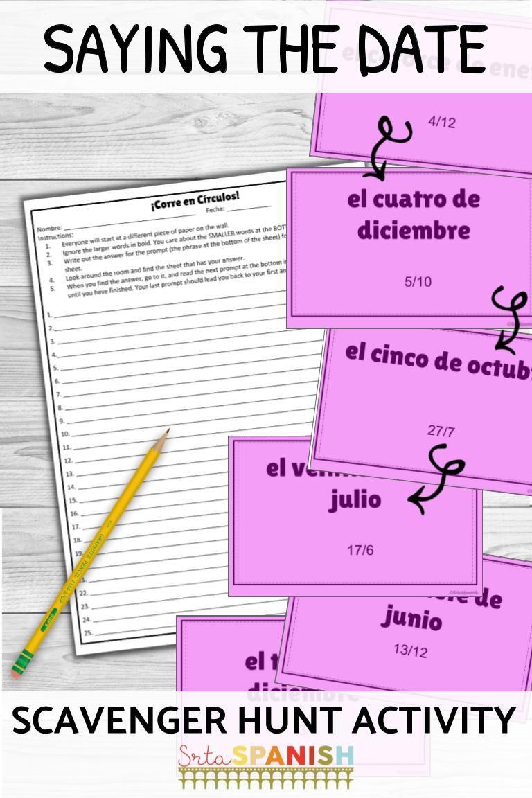 La Fecha Say the Date in Spanish ¡Corre en Círculos