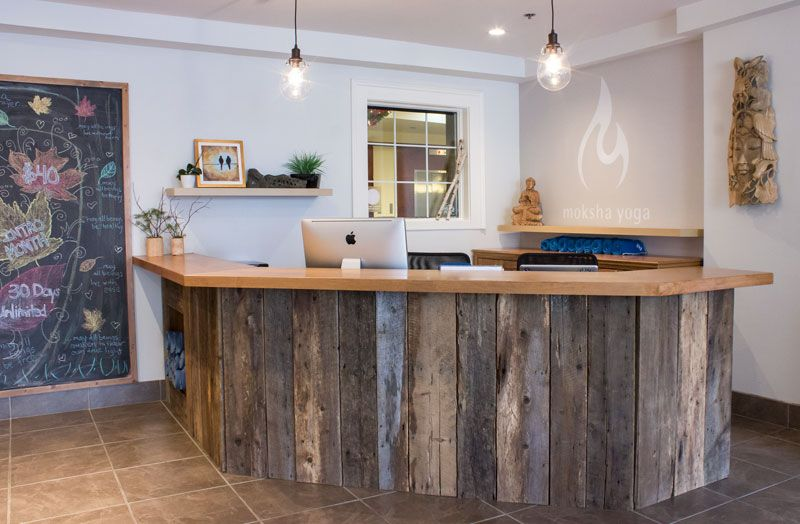 Client work: calming natural yoga studio | Reception desks, Desks ...