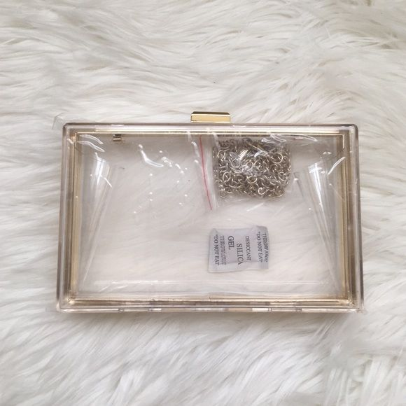 Acrylic Purse!!! Brand New!! Acrylic Purse with Gold Details. Removable strap!! Can be used as shoulder bag or clutch! Perfect evening bag! Fast Shipping!! Bags Clutches & Wristlets