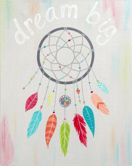 Dreamcatcher Wall Art dream big inspirational girls wall art -catch your dream 8x10