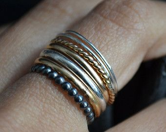 Trauben VII  Silber und 14 k Gold gefllt Ringe  Stapeln Ringe  Semainier  Schmuck  Gold
