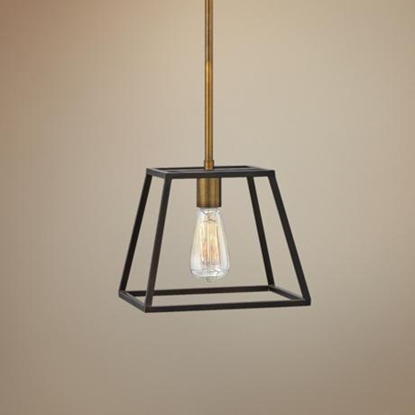 Hinkley fulton 10 wide bronze mini pendant 4y170 lampsplus com hall lightingbasement