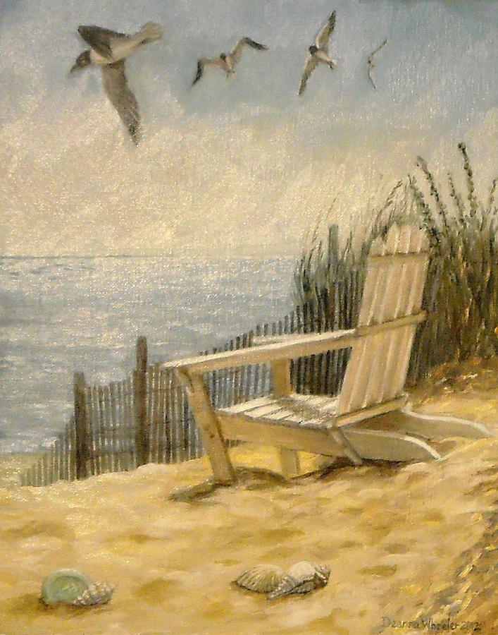 Beach Chair Canvas Print / Canvas Art by Deanna Wheeler | Chair ...
