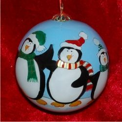 Glass Ball Penguin Family of 4 - New Baby Family Christmas Ornament