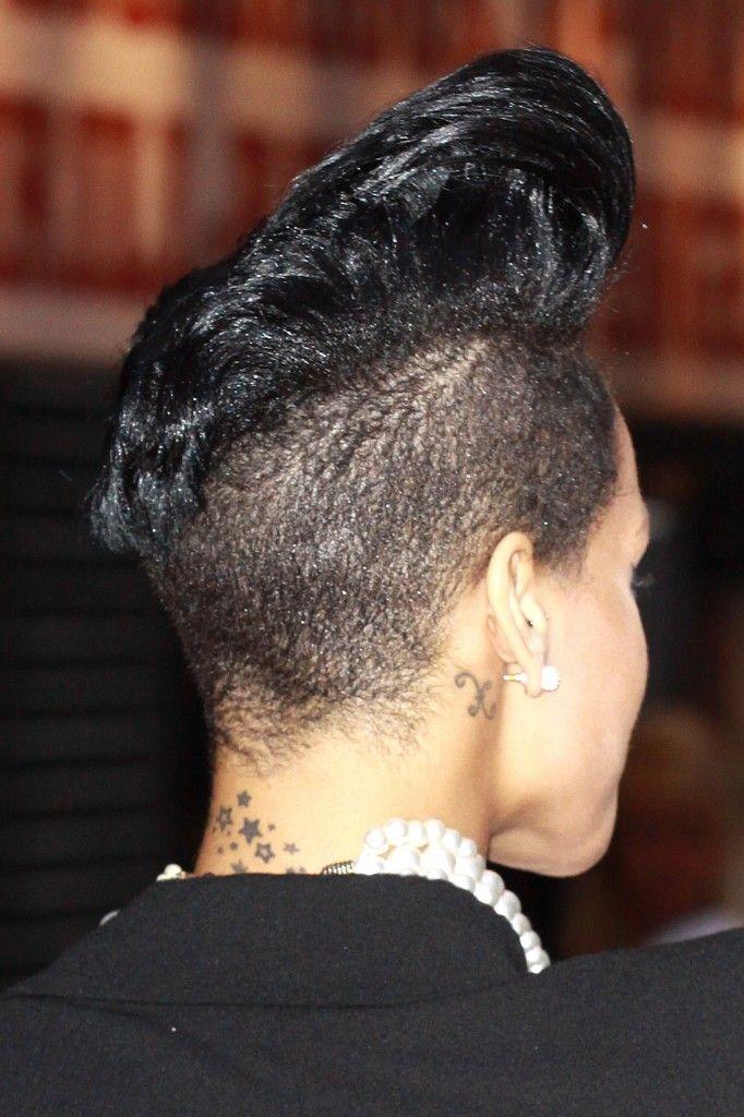 Rihannas short high sculpted hairstyle