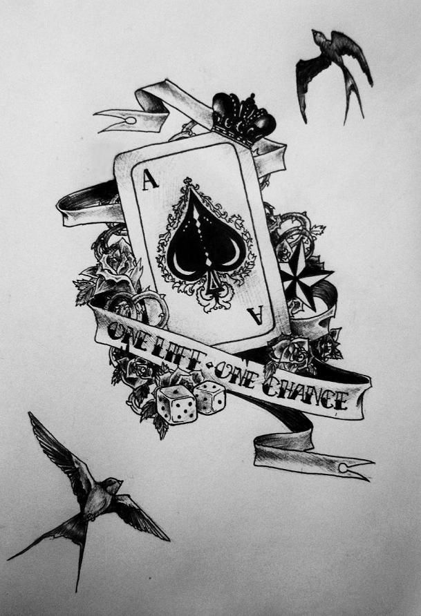 Photo of Ace of pic tattoo drawing birds black card