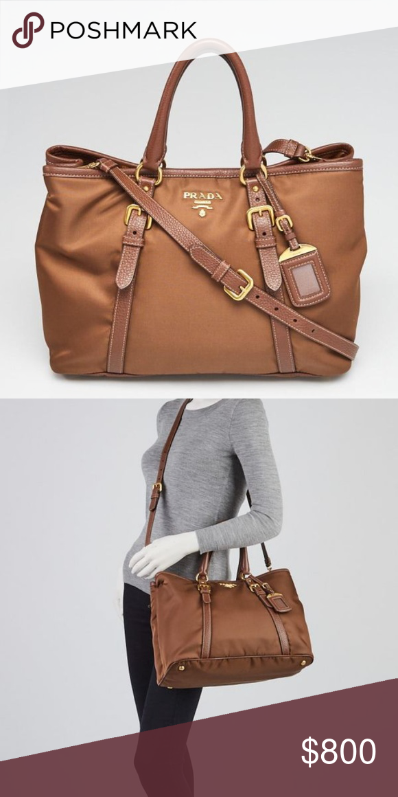 a4b4c52d4c52 Prada Corinto Tessuto Nylon and Leather Tote Brown tote bag with vinyl and  leather. Cross