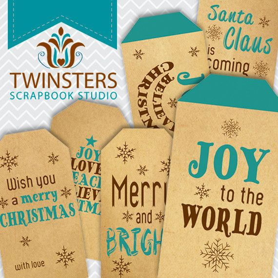 Printable old paper Christmas tags  turquoise  png  by Twinsters
