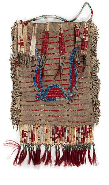 sioux quillwork   Sioux Elk Dreamer's Society Quilled Hide Pictorial Bag