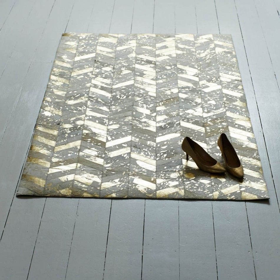Our Gold Chevron Small Cowhide Rug Is Brushed Leather Sched With A Herringbone Design For An Ont Take On Traditional Hide