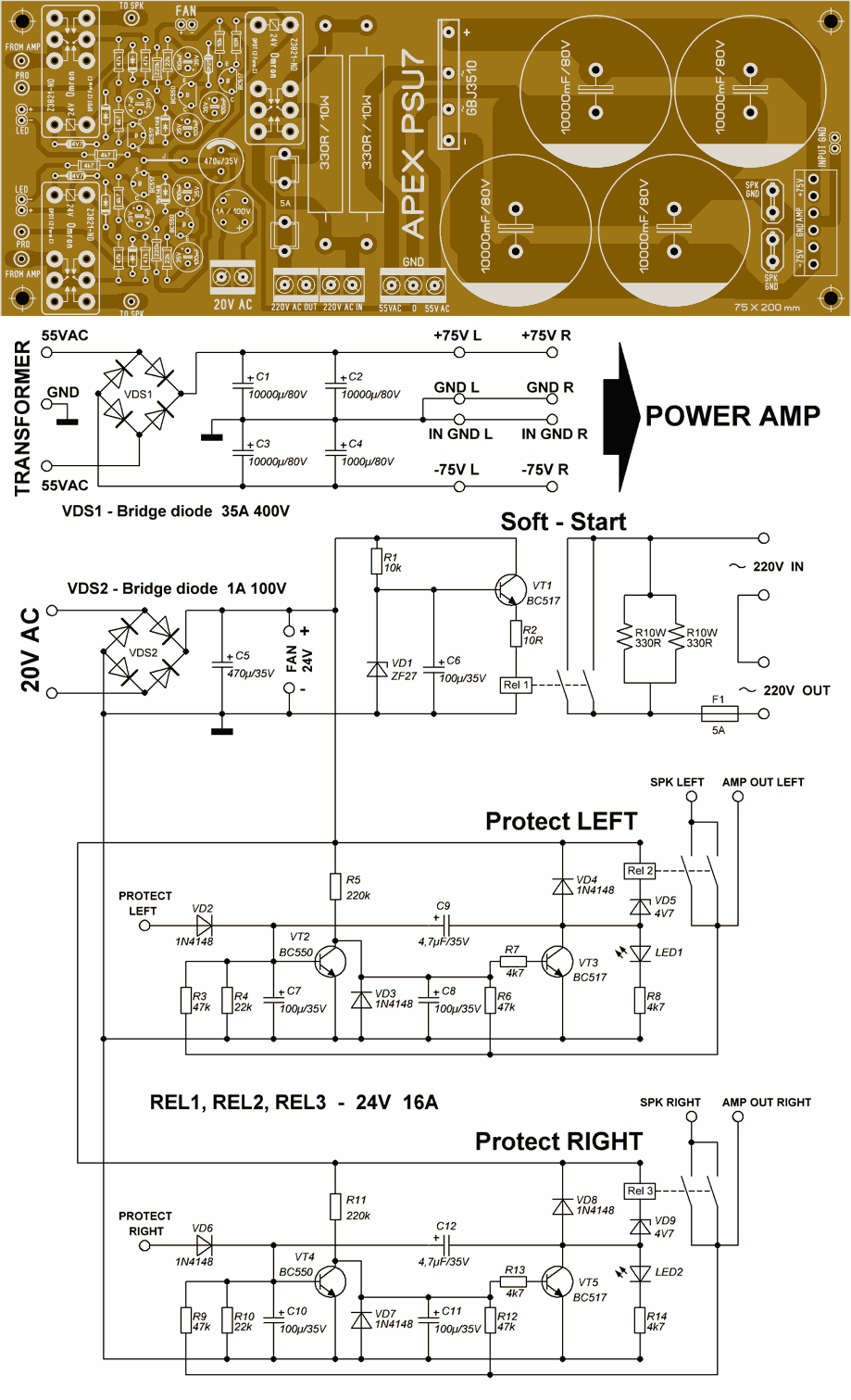 Amplifier Protection And Power Supply Circuits Amp Power Psu7 Protec Suppy 120x120 Power Supply Circuit Audio Amplifier Circuit