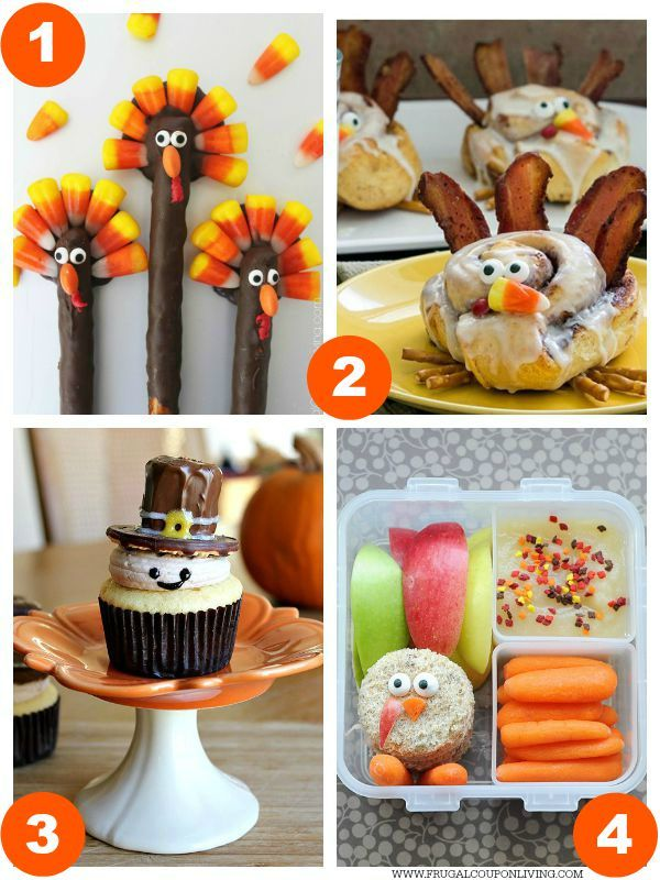 Ordinary Food Craft Ideas For Kids Part - 7: Turkey Thanksgiving Pretzels, Cinnamon Roll Turkeys, Pilgrim Cupcakes And  Turkey Bento Box Plus 31