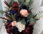 Wedding Bouquet Burgundy Navy Blue Red Peony Eucalyptus Wedding Maroon Package Handmade Artificial F  meu casamento
