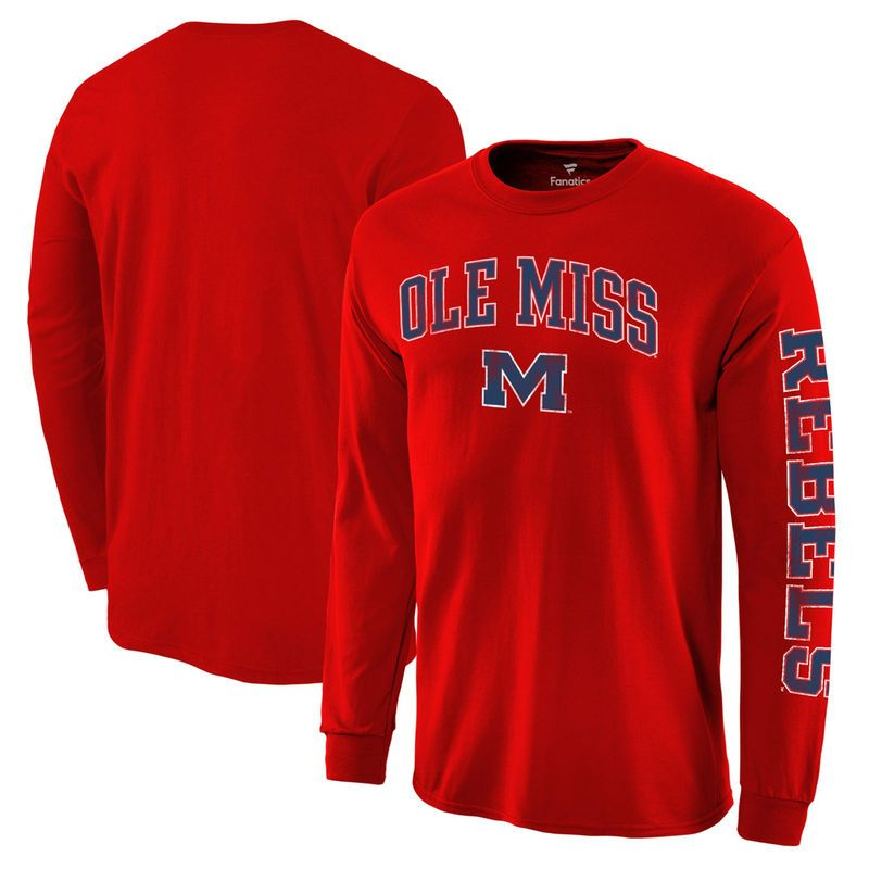 358fa1853c9 Ole Miss Rebels Fanatics Branded Distressed Arch Over Logo Long Sleeve Hit T -Shirt - Red