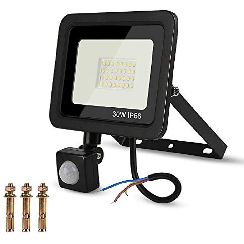 30W LED Strahler mit Bewegungsmelder und Fernbedienung IP65 Außenwandleuchte