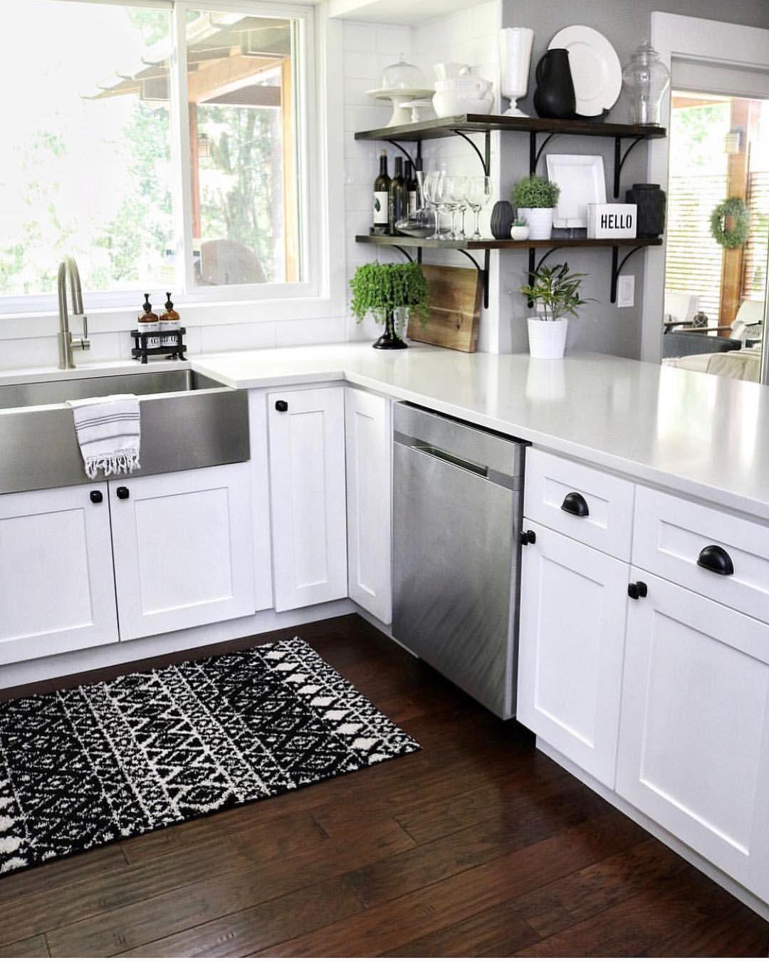 Black white neutral kitchen with shaker black