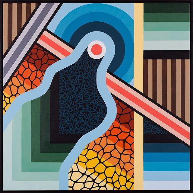 'Incursion' Acrylic on canvas, framed 1m x 1m