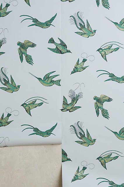 Anthropologie Coastal Fauna Wallpaper Floral wallpaper