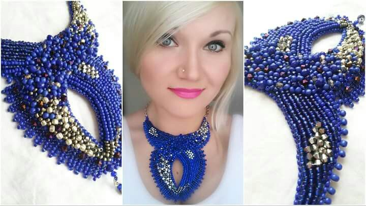 """Blue waves"" handmade necklace. Beautiful blue cobalt colour mixed with dark purple crystals and silver glass beads. Beads artwork and design by Monique"