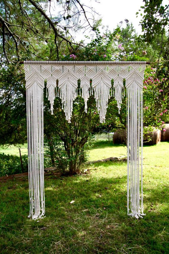 macrame arch 6 39 x 8 39 natural white cotton rope on wooden dowel wedding backdrop baby shower. Black Bedroom Furniture Sets. Home Design Ideas