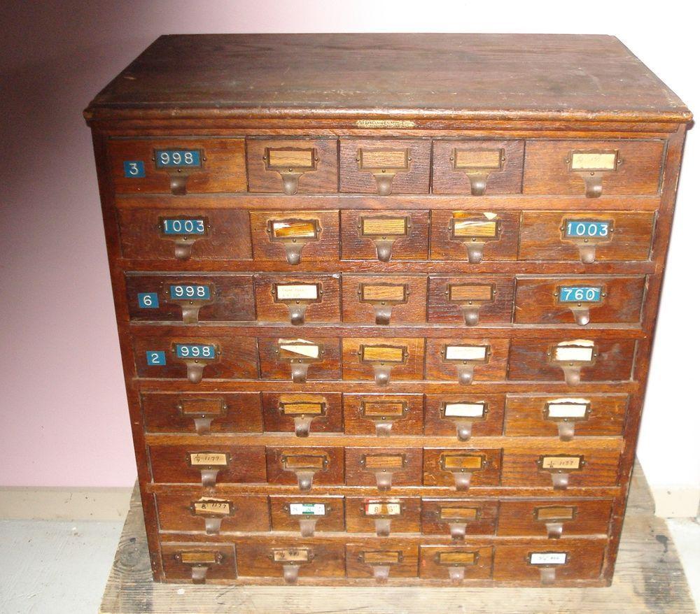 Index Card File Cabinet ANTIQUE JD WARREN Mfg Chicago 40 Catalog Drawers  OAK In Antiques,