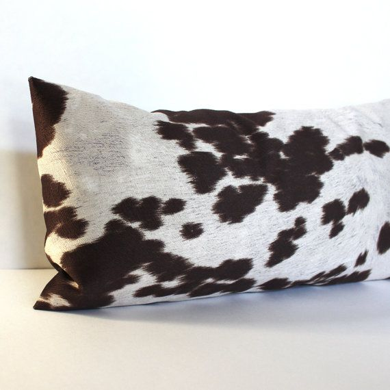 Lumbar Pillow Cover 40x40 Faux Suede Brown Cowhide Oblong Accent Amazing 12 X 21 Pillow Insert