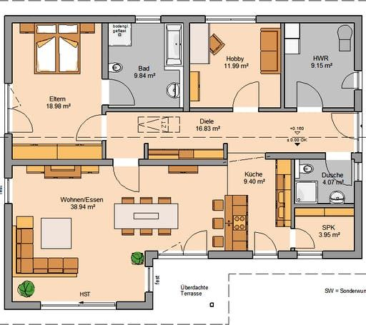 Bungalow In Pd: Kern Haus - Bungalow Vita PD Floorplan 1