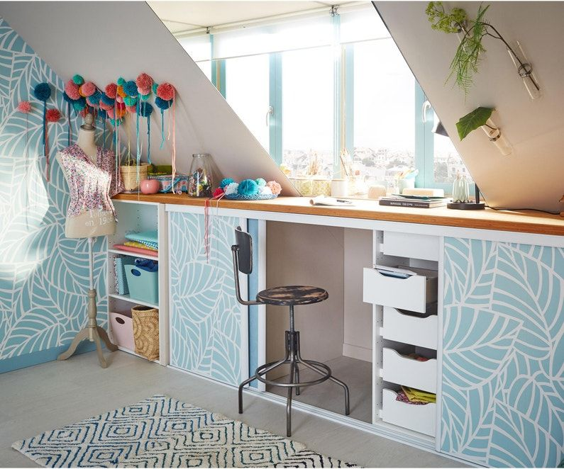 Caisson Sous Pente Spaceo Home Blanc H 100 X L 120 X P 60 Cm Home Decor Closet Desk Interior