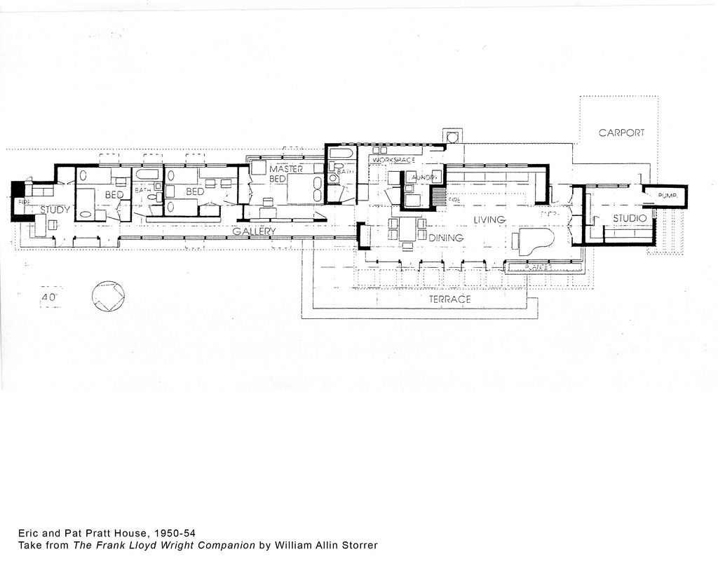 Frank lloyd wright drawings pratt house plan 1951 Frank lloyd wright floor plan
