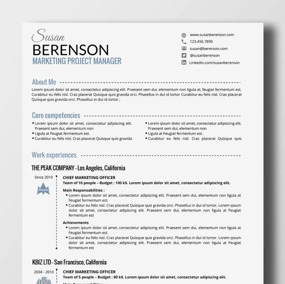 Professional Resume Minimalist Professional Resume  2 Pages Word  Resume Cv