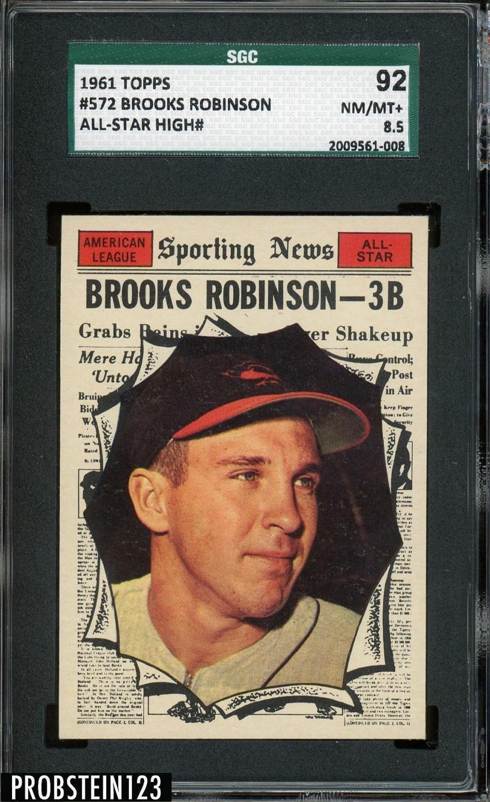 1961 topps allstar 572 brooks robinson orioles hof sgc