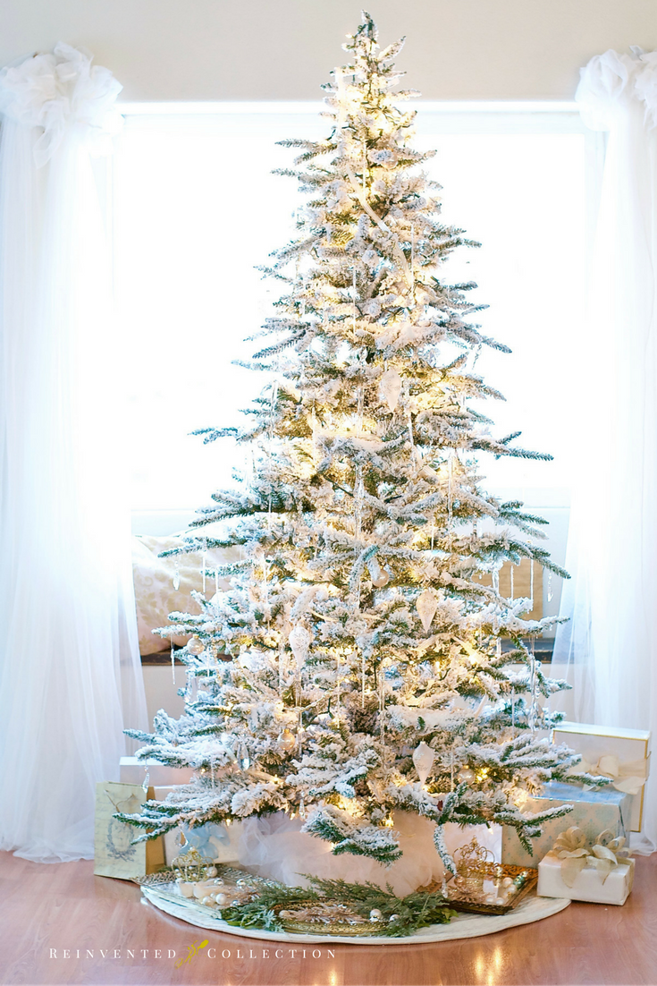 A Perfect Flocked Christmas Tree | Christmas decor, Christmas tree ...