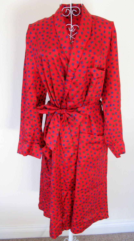 Smoking Jacket - Vintage Mens Robe - Red Smoking Jacket - Robe ...