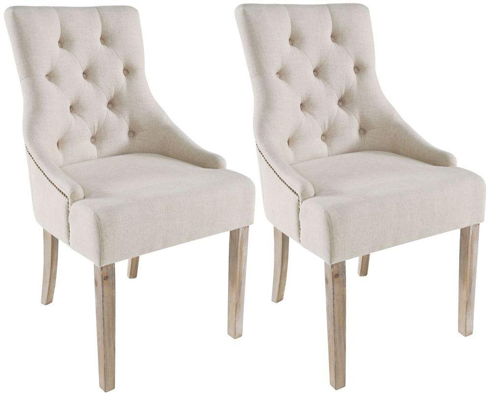 Rowico Stella Fabric Dining Chair Pair Cream Fabric Dining
