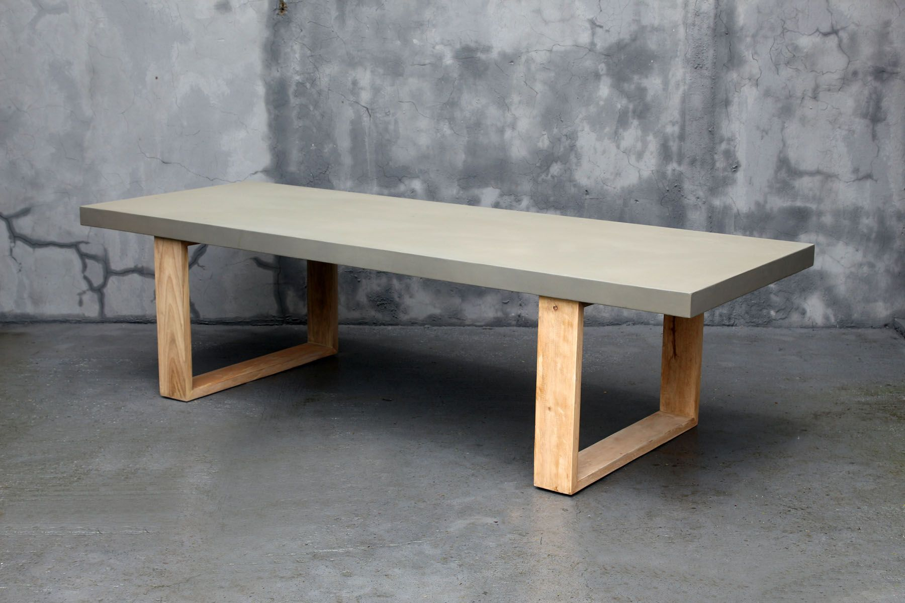 Material Hard Wooden U Shaped Legs And Stone Cast Table Top