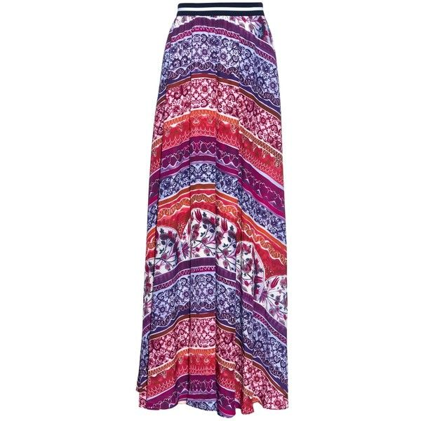 Stella Jean Concord floral-print silk skirt (565 AUD) ❤ liked on Polyvore featuring skirts, pink multi, elastic waist skirt, silk skirt, purple skirt, floral skirt y flower print skirt