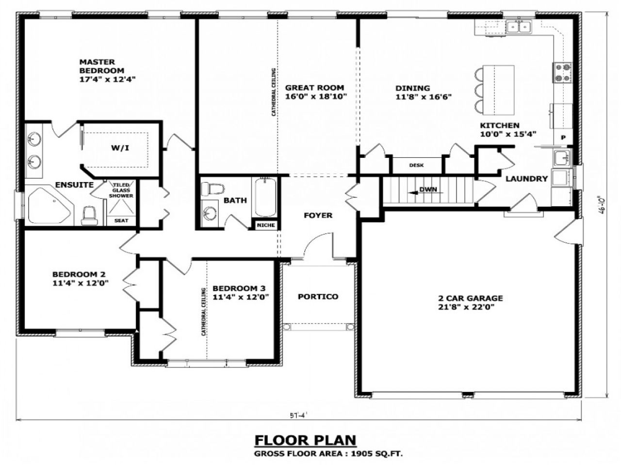 This Is Perfect No Formal Living Room Or Formal Dining Room And There Is A Window Over The Ki Bungalow Floor Plans 4 Bedroom House Plans Bungalow House Plans