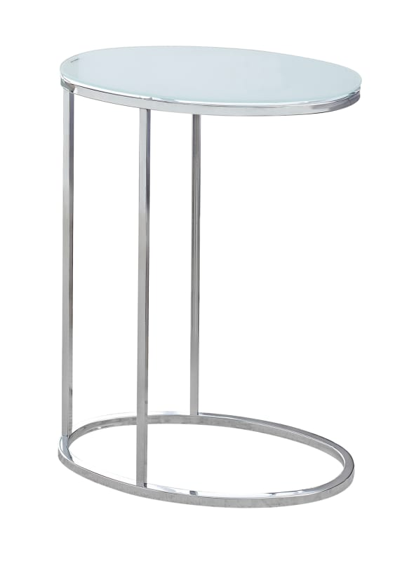 Monarch Specialties I 3240 Tempered Glass Table Top Contemporary Side Tables Chrome