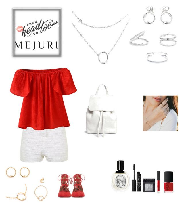"""""""Grace: Jen Chae × Mejuri"""" by sereneowl ❤ liked on Polyvore featuring Topshop, WithChic, Aquazzura, Mansur Gavriel, Diptyque, NARS Cosmetics, contestentry and jenchae"""