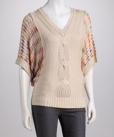 Another great find on #zulily! Beige V-Neck Dolman Sweater by High Secret #zulilyfinds