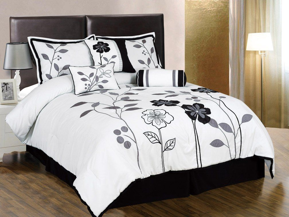 - Chezmoi Collection 7-Piece White, Grey and Black Lily
