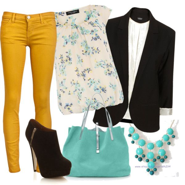 Mustard jeans Cream and teal Target top Black Boyfriend blazer Teal Bubble necklace