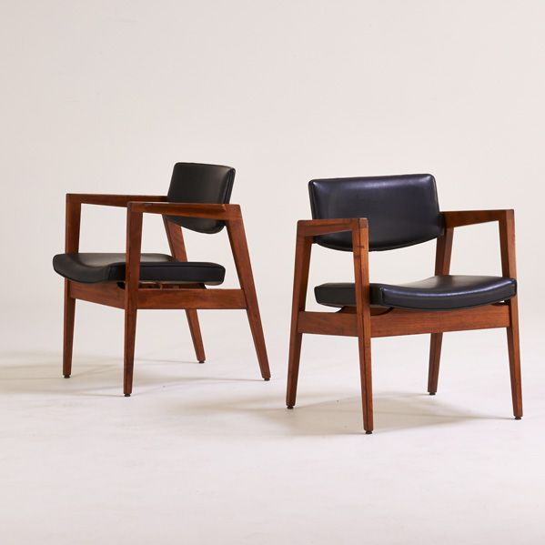 W H Gunlocke Chair Co Pair Of Armchairs Wayland Ny 1950s