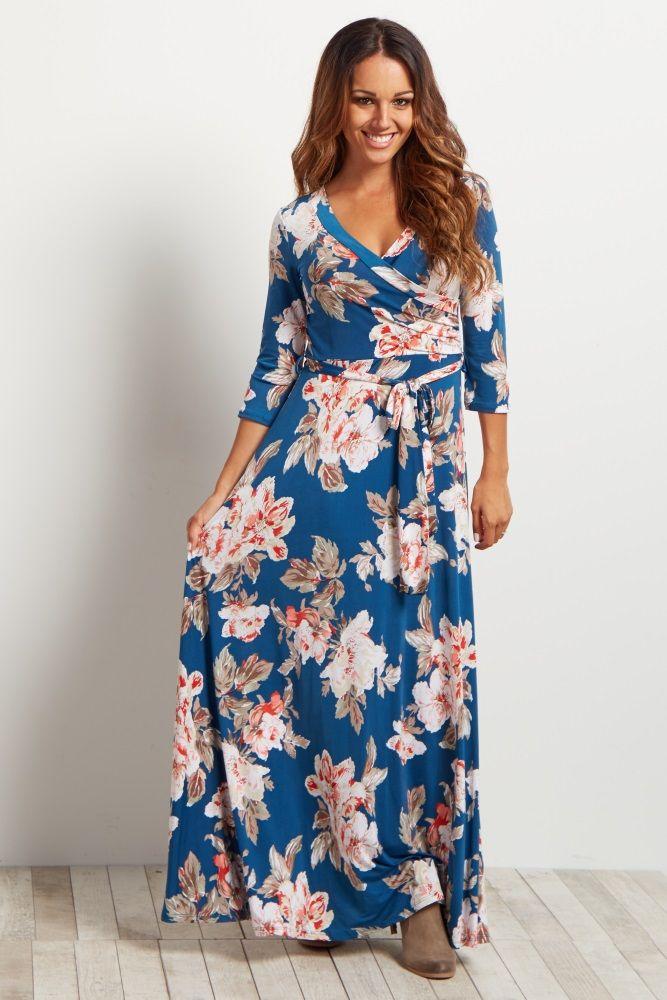 Maternity wrap dress maxi