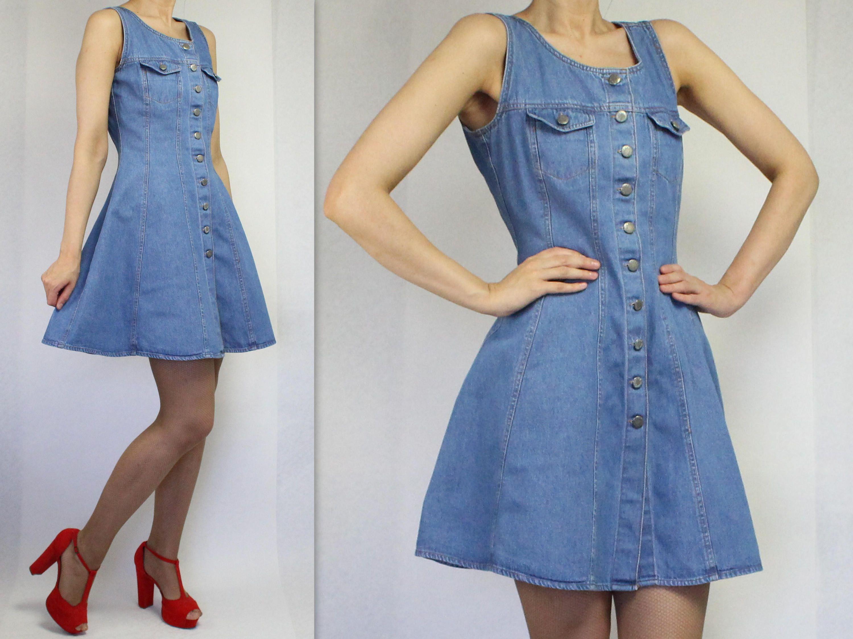 Vintage Denim Dress Denim Sarafan Dress Denim Mini Dress Mini Vintage Denim Dress Denim Mini Dress Vintage Denim