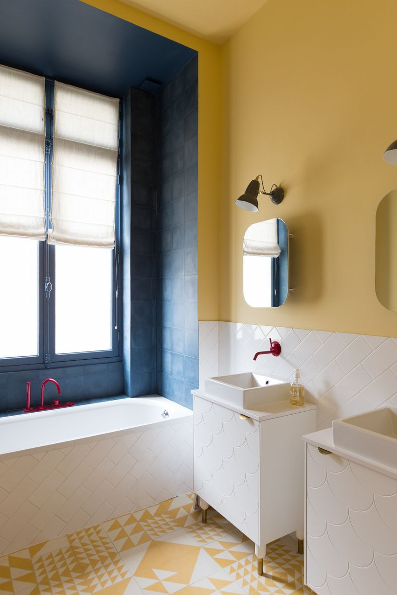give your bath some style with graphic painted walls