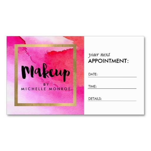 Bold Pink Watercolors Makeup Artist Appointment Zazzle