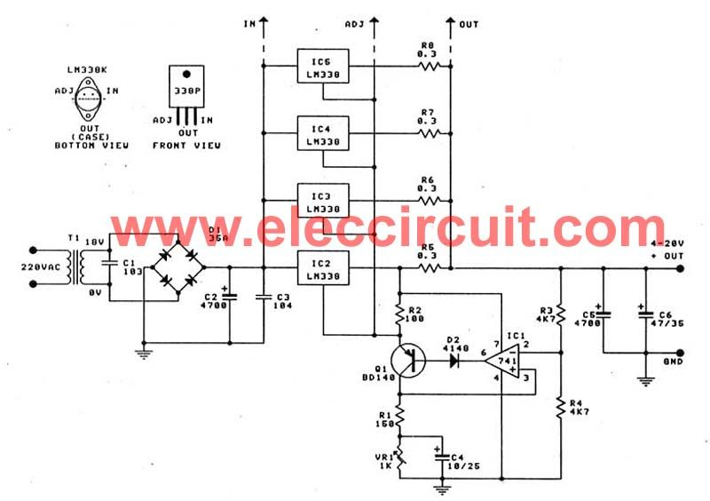 this is high current adjustable power supply,0 to 30v 20a or 400watts it  easy circuit and nice circuit, because use ic-lm338 and ic-741 as main parts